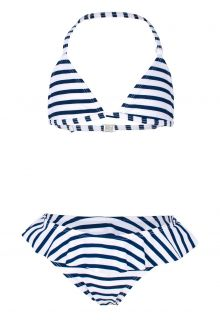 JUJA---Bikini-for-girls---Stripy-Ruches---White/Blue
