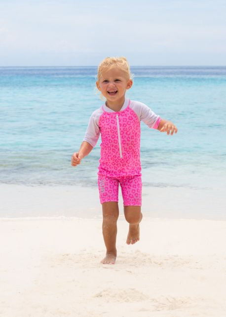JUJA---UV-Swim-suit-for-babies---short-sleeves---Leopard---Pink